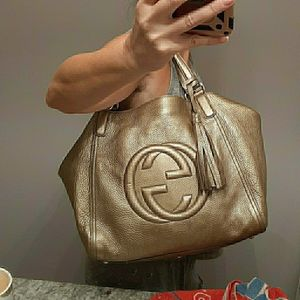 BRAND NEW GUCCI GOLD LEATHER SOHO